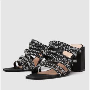 7b1eafb9d44 Zara Shoes - Zara Strappy Slogan High Block Heel Mule Sandal
